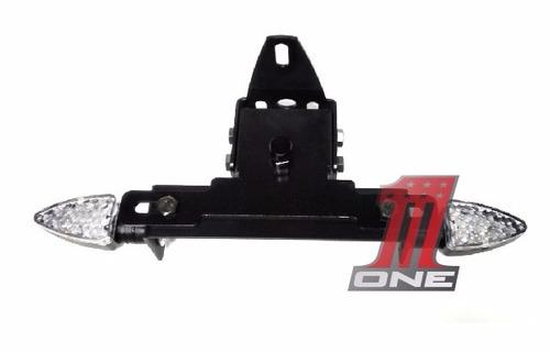 kit suporte placa com piscas led e luz placa moto cbr1000 rr
