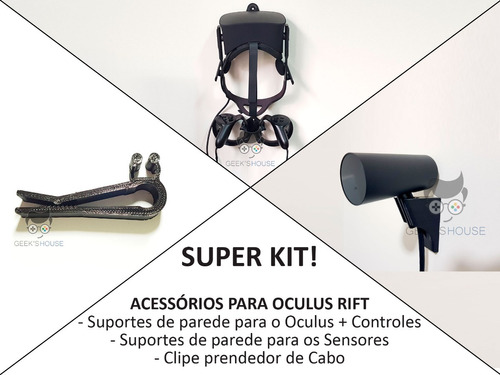 kit suportes sensor+touch+oculus rift cv1+clipe+frete grátis