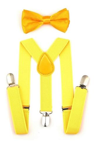kit suspensório + gravata borboleta infantil amarelo