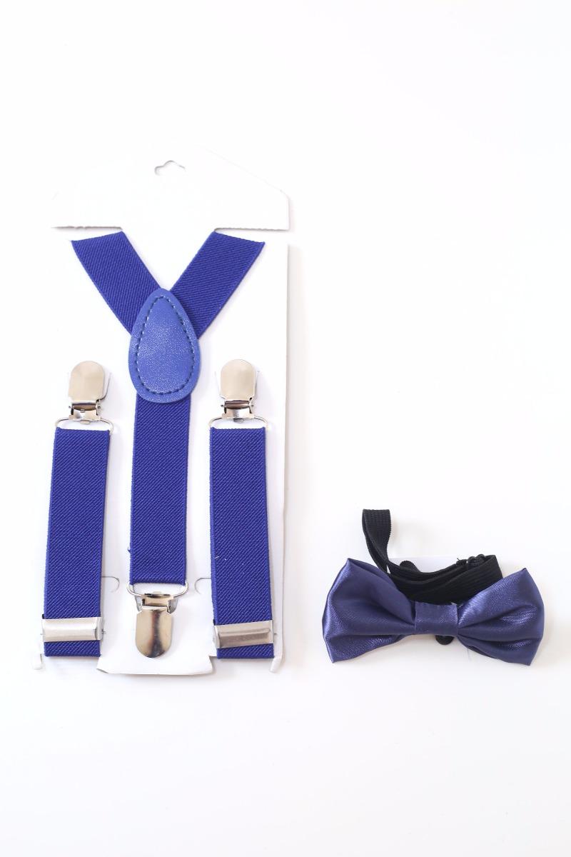 79ba6612c kit suspensório+gravata borboleta infantil pajem azul escuro. Carregando  zoom.