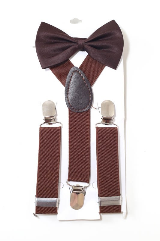 kit suspensório + gravata borboleta pajem infantil marrom. Carregando zoom. b064b1abb7f