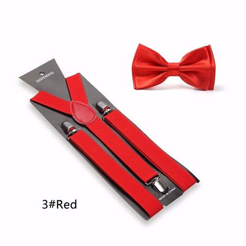 kit suspensório + gravata borboleta vermelho - mega promoção