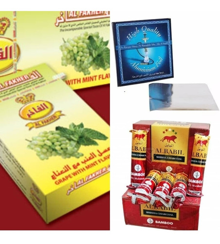 kit tabaco + carbon + papel aluminio p/ narguile shisha pipa