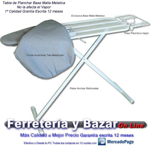 kit tabla planchar base malla met profesional grande + 2 per