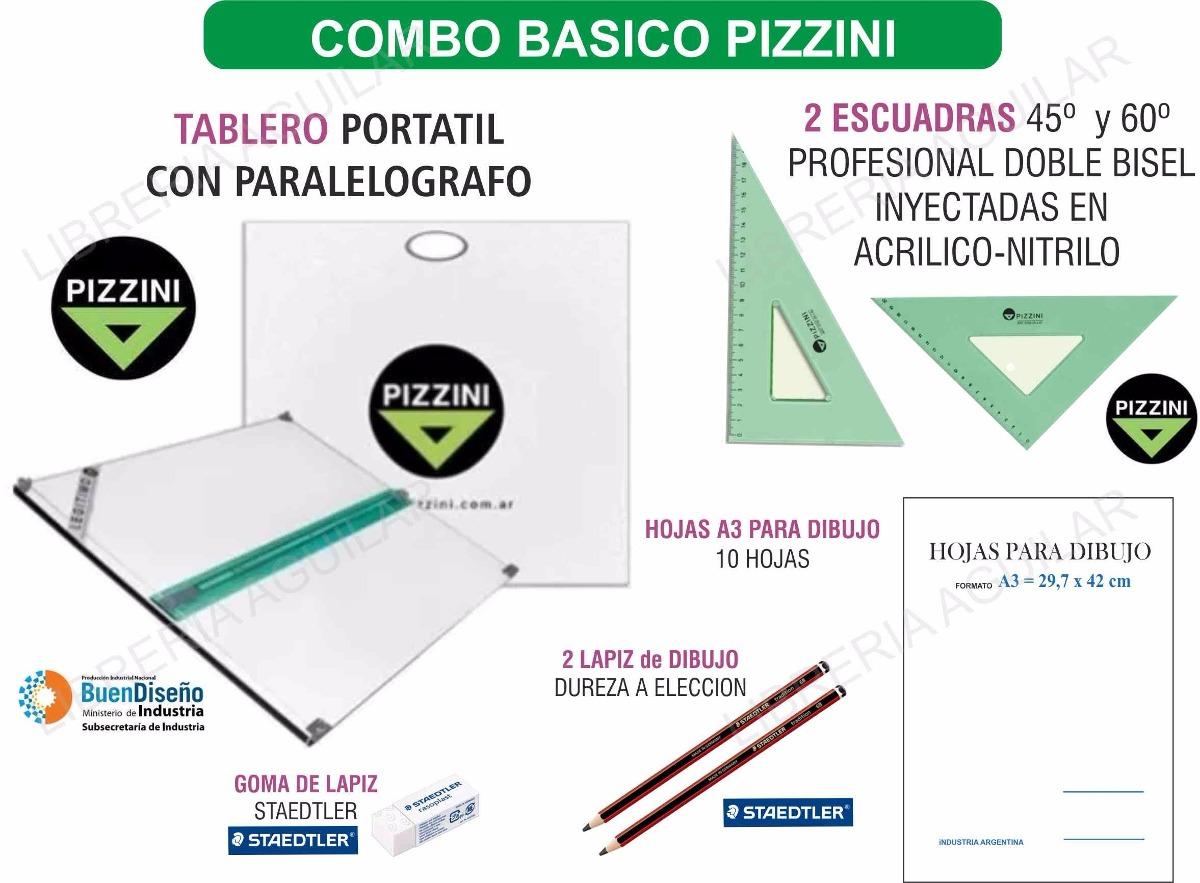 Kit Tablero Pizzini De Dibujo Tecnico Escuadras Hojas Y Mas