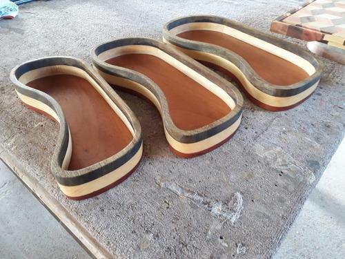 kit tábua de churrasco 3d + 3 gamelas de madeira luxo
