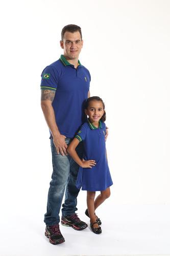 kit tal pai tal filha polos azul royal