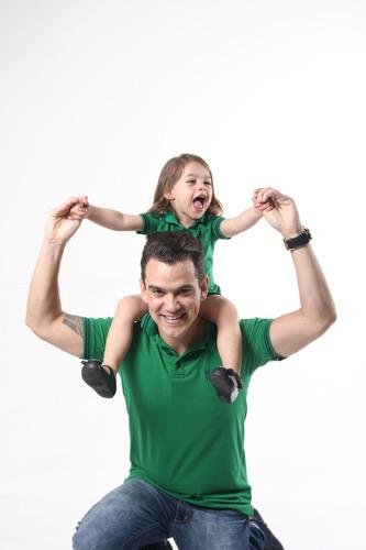 kit tal pai tal filha polos verde esperança