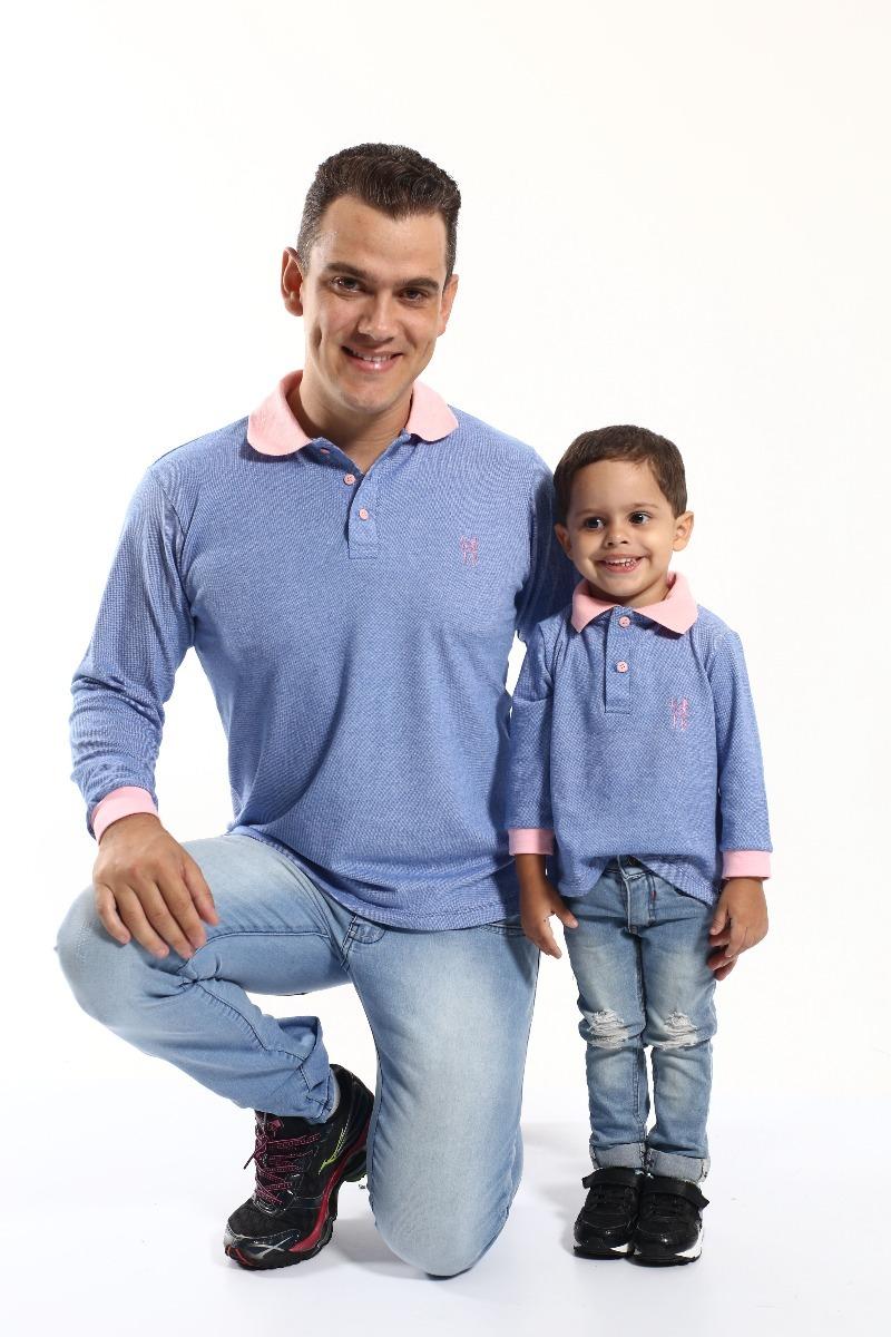 8ea13fd0eb kit tal pai tal filho camisa polo manga longa. Carregando zoom.