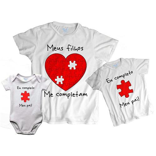 kit tal pai tal filhos meus filhos me completam 3 blusas