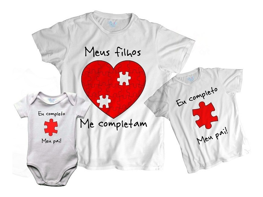 01c13ced8 kit tal pai tal filhos meus filhos me completam 3 blusas. Carregando zoom.