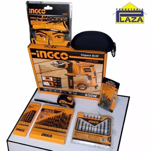 kit taladro ingco 850w + mechas + lentes + cinta 3m