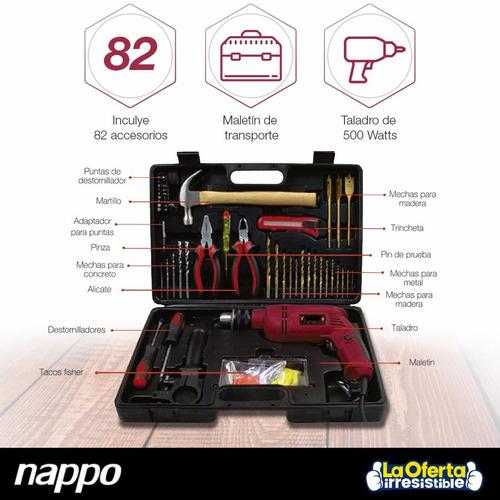 kit taladro nappo 500w + caja herramientas completa en loi