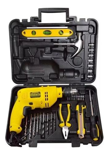 kit taladro percutor 1/2` 600w+ accesorios herramientas manu