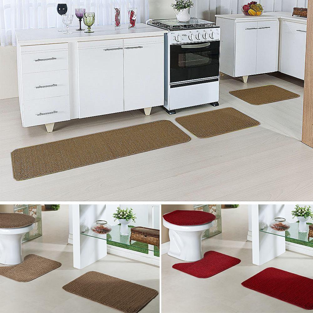 601eea4e3 kit tapete cozinha e 2 banheiro relevo caramelo vermelho. Carregando zoom.