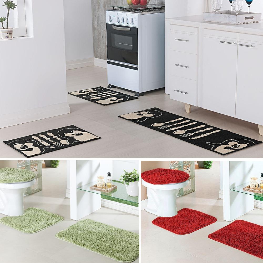 f1f577c43 kit tapete cozinha pinguim e banheiro classic verde e cereja. Carregando  zoom.