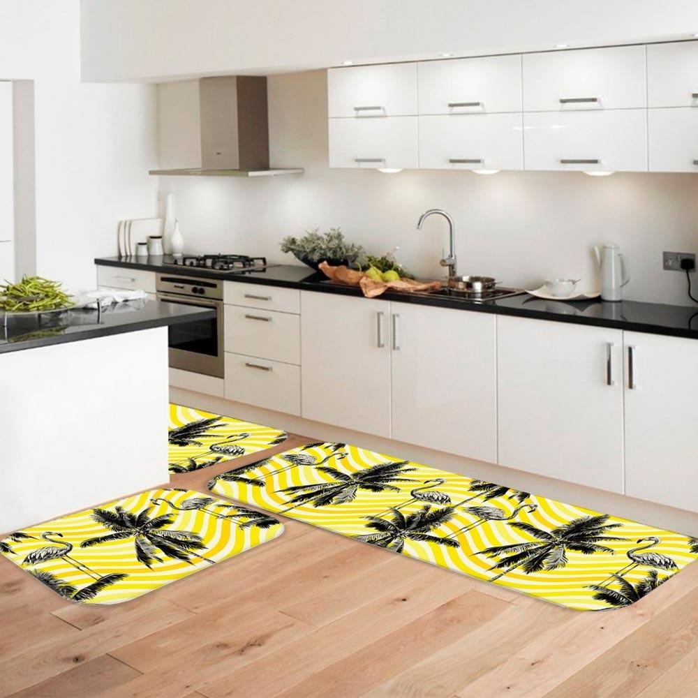 Kit Tapete De Cozinha Flamingos Amarelo Nico R 89 90 Em Mercado