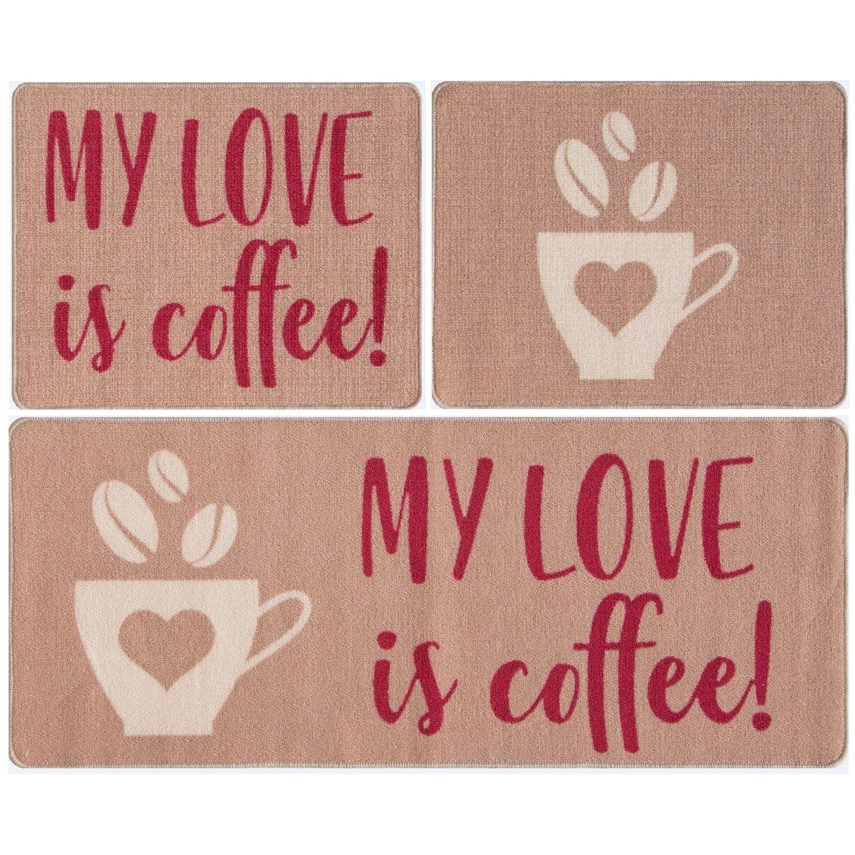 ea6654ad0 kit tapete para cozinha 3 pç gourmet love coffe marrom. Carregando zoom.