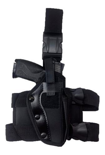 kit tático - bornal com porta faca + coldre de perna tático