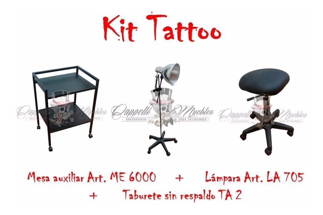 Kit Tattoo Mesa Auxiliar Lampara Taburete Original Cappelli