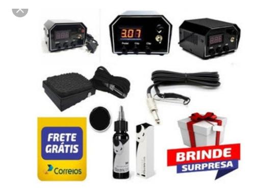 kit tatuagem fonte new p2 maquinas +pedal +clip+tinta tattoo