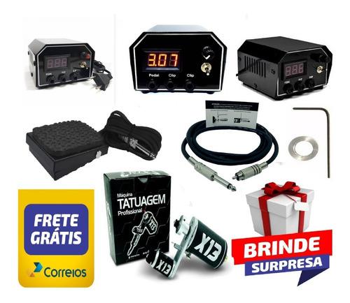 kit tatuagem x13 fonte new digital p10 + pedal + rca  tattoo