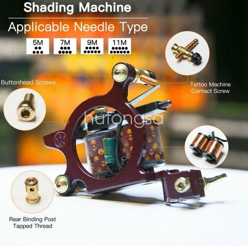 kit tatuaje 3 maquinas (1 rotativa) 20 tintas maleta m12 w01