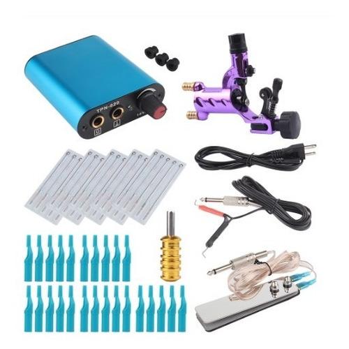 kit tatuaje maquina rotativa fuente pedal accesorios agujas