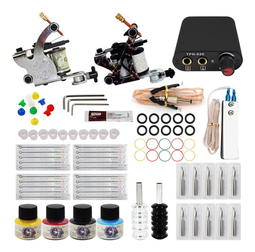 kit tatuaje profesional 2 máquina y fuente agujas pedal