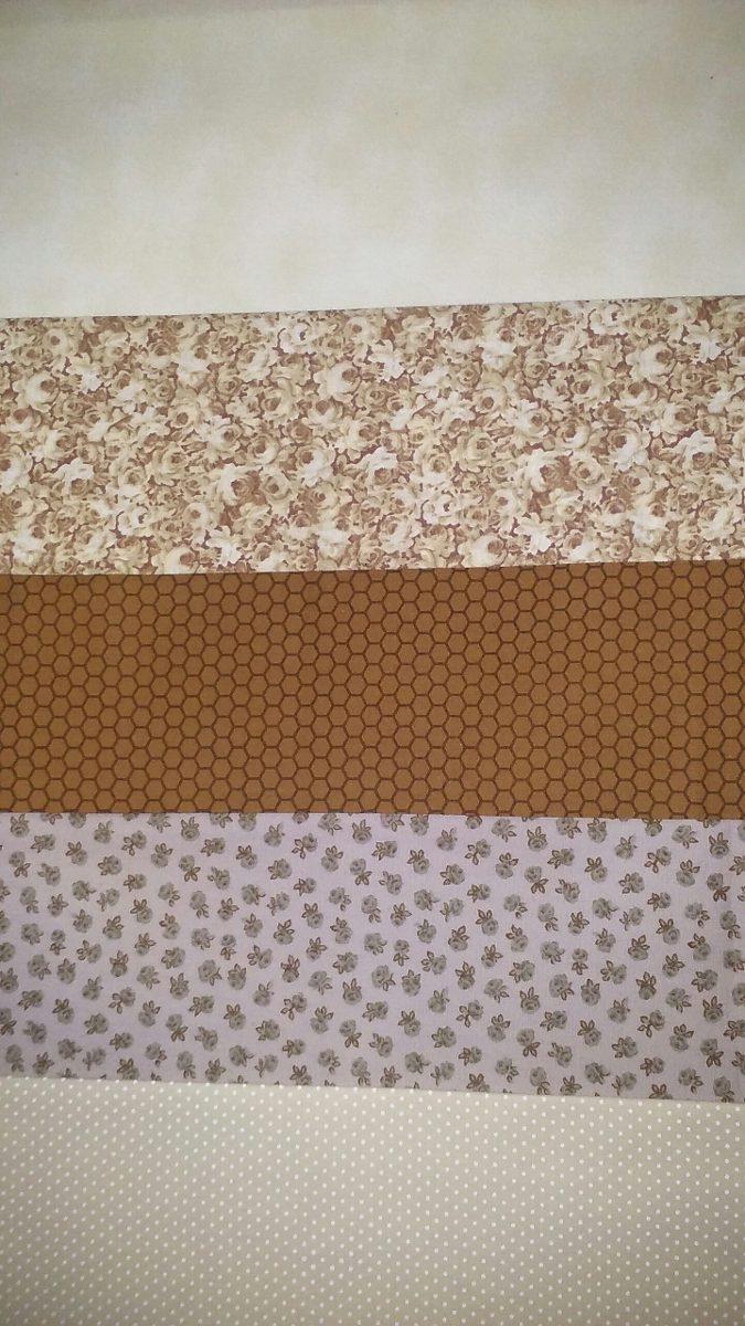 00d6f90032ec78 Kit Tecidos Tricoline 100% Algodão Patchwork Bege/marrom