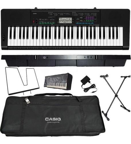 kit teclado arranjador 5/8 ctk 3400 com capa casio preta