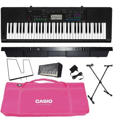 kit teclado arranjador 5/8 ctk 3400 com capa casio rosa
