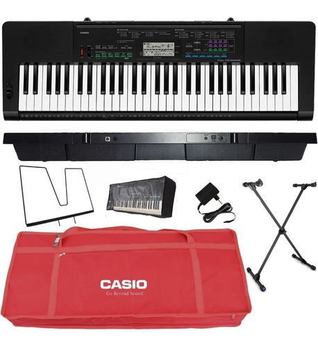 kit teclado arranjador 5/8 ctk 3400 com capa casio vermelha