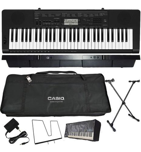 kit teclado arranjador 61 teclas ctk-3500 casio completo