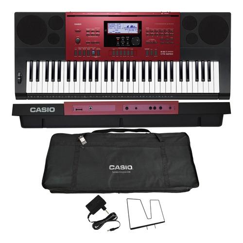kit teclado arranjador 61 teclas ctk-6250 casio com capa