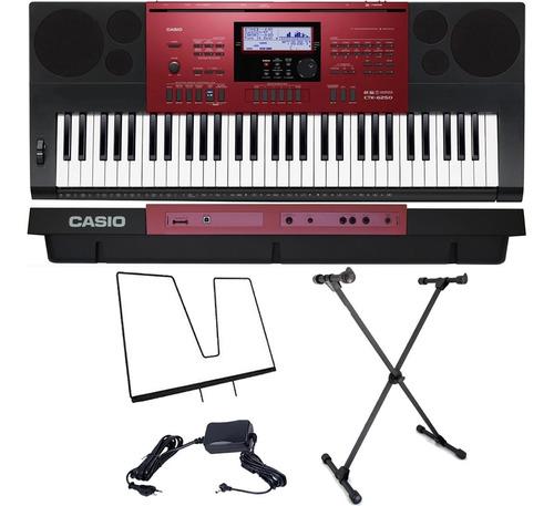 kit teclado arranjador 61 teclas ctk-6250 casio com suporte