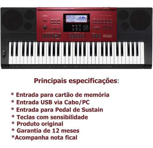 kit teclado arranjador 61 teclas ctk-6250 usb casio com capa