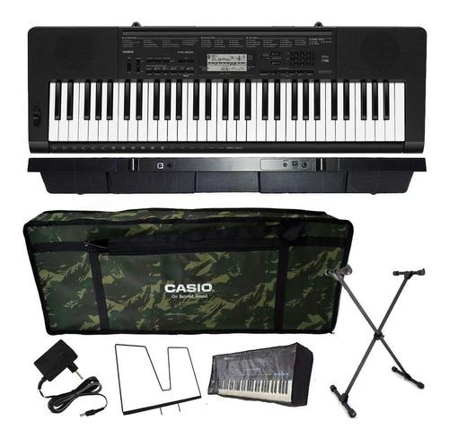 kit teclado casio ctk-3500 arranjador musical 5/8 camuflado