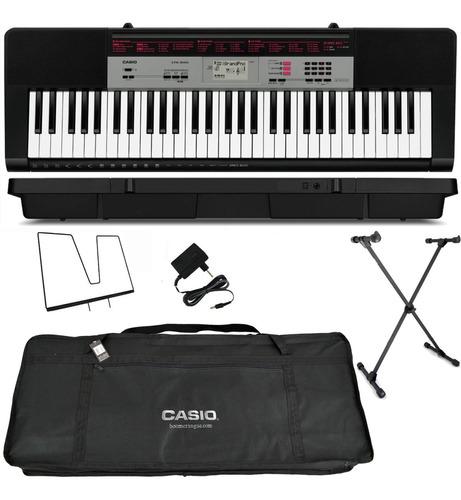 kit teclado casio musical arranjador ctk-1500 suporte + capa