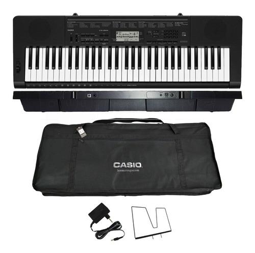 kit teclado digital arranjador 61  ctk-3500 casio com capa