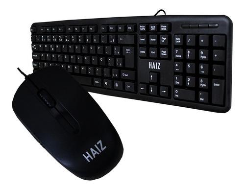 kit teclado e mouse classico com fio escritório hz11 nf