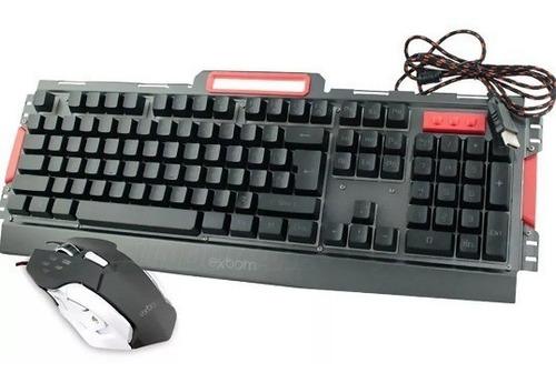 kit teclado gamer semi mecânico e mouse bk-g3000 led e metal