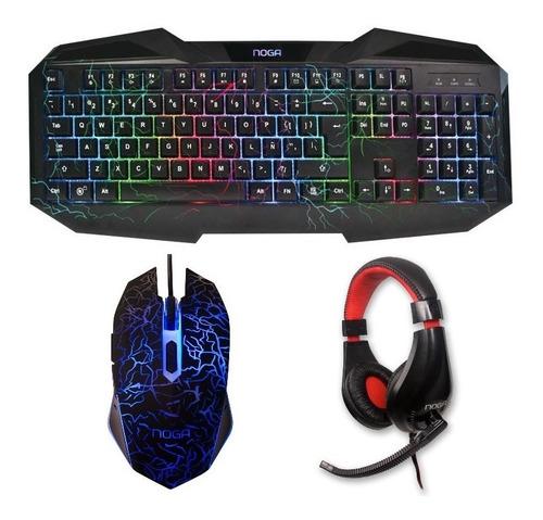 kit teclado mouse auricular retroiluminado gamer noga combo