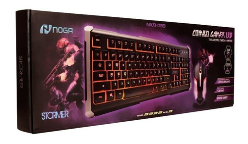 kit teclado mouse gamer pc combo retroiluminado led noga 089