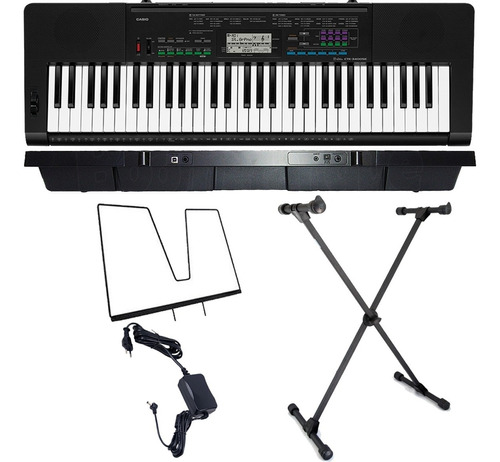 kit teclado musical 61 teclas ctk-3400 casio com suporte