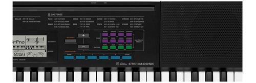 kit teclado musical ctk-3400 casio + fonte+ capa + suporte x