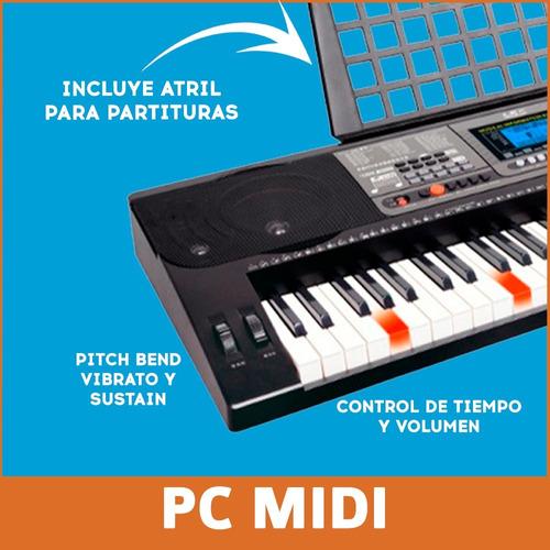 kit teclado organo musical mk816 + soporte de piano + fuente