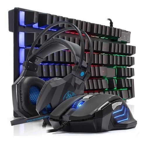 kit teclado semi mecânico gamer headset mouse 3200dpi laser
