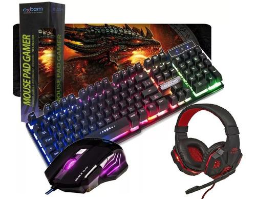 kit teclado semi mecânico gamer usb + mouse 2400dpi 6 botões