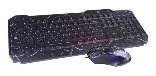 kit teclado y mouse gamer pc laptop rgb led multimedia naceb ergonomico alambrico usb optico español
